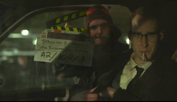 "Callam Rodya as Roddy with 3rd AD Alex Pitzel slating the shot on the set of ""Stalking by Numbers""."